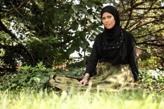 Studded Neckline Hijab by That Hijabi | Skirt: Bulbul Clothing| Model: Ana Cabrera | Makeup by Zeba | Photography: Alica Kwoka
