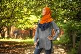 Rust & Navy by That Hijabi | Shirt: Bulbul Clothing | Model/Blogger: Yomna (somecreativemind.wordpress.com) | Clutch by JannahnAima | Jewelry by Emme Kay | Makeup by Zeba | Photography: Alica Kwoka